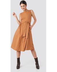 Trendyol Front Button Binding Detailed Midi Dress - Marron