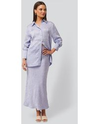 NA-KD Satin Wrinkle Skirt - Violet