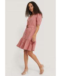 NA-KD Puffärmel Jeanskleid Mit Gürtel - Pink