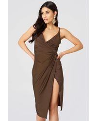 Boohoo - Slinky Draped Dress - Lyst