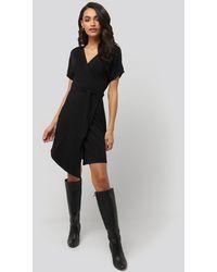 NA-KD Overlap Jersey Dress - Noir