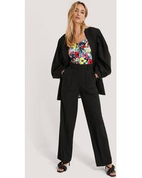 NA-KD Black Quilted Pocket Suit Trousers