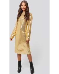 NA-KD High Neck Straight Sequins Dress Gold - Metallic