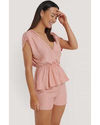 Trendyol Pink Double Breasted Viscose Pyjamas Set