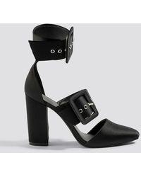 NA-KD Black Multi Buckle Block Heels
