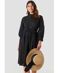 NA-KD Drawstring Buttoned Shirt Dress - Zwart
