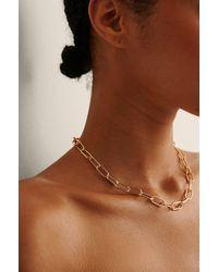 NA-KD Accessories Recycelte Ovale Halskette - Mettallic