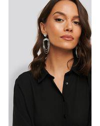 NA-KD Silver Strass Hanging Earrings - Metallic