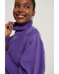 NA-KD Purple High Neck Knit Balloon Sleeve Jumper