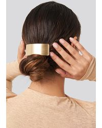 NA-KD Wide Gold Hairclip - Metallic