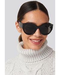 NA-KD Wide Temple Cateye Sunglasses - Zwart