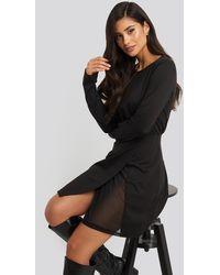 NA-KD Overlap Padded Shoulder Mini Dress - Noir