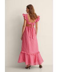 NA-KD Maxi-jurk Met Ruches - Roze