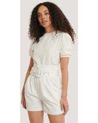 Glamorous White Belted High Waist Shorts