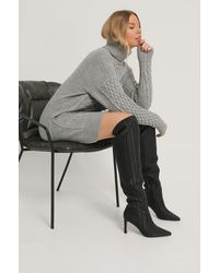 NA-KD Black Structured Over Knee Boots