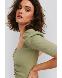 NA-KD Puff Sleeve Ruched Top - Groen