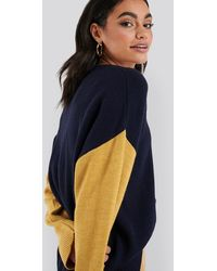NA-KD Wool Blend Oversized Wide Neck Sweater - Blauw