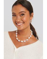 NA-KD Vintage Pearl Necklace - Blanc
