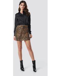 NA-KD - Trend Belted Leopard Denim Skirt - Lyst