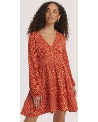 Mango Mini-jurk Met Ruches - Rood