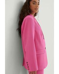 NA-KD Classic Oversized Twill Blazer - Roze