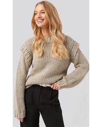NA-KD Wool Blend Shoulder Detail Knitted Sweater - Naturel