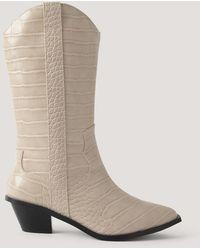 NA-KD Beige Straight Croc Cowboy Boots - White