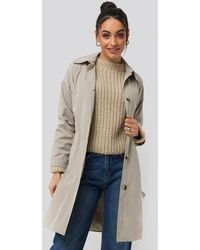 Trendyol Silver Ring Belted Trench Coat - Grijs