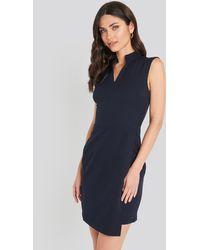 Trendyol Sheer Neck Mini Dress - Blauw