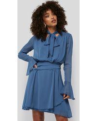 Trendyol Neck Detailed Mini Dress - Blauw