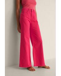 NA-KD Organisch Gekleurde Zachte Stijve Wijde Jeans - Roze