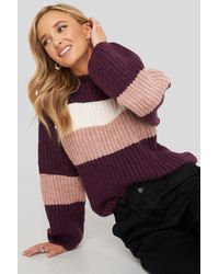 NA-KD Trend Striped Chunky Knitted Sweater - Lila