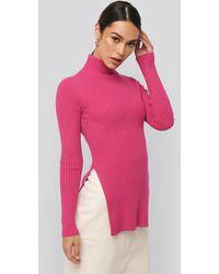 NA-KD Knitted Side Slit Sweater - Roze