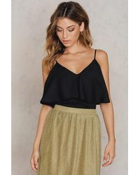 NA-KD - Thin Strap Flounce Top - Lyst