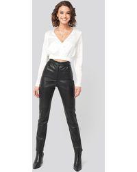 NA-KD Black Pu-leather Slim Pants