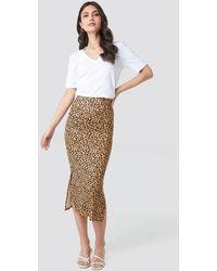 NA-KD Jesey Side Slit Leo Printed Skirt - Multicolore