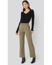 NA-KD Green Patch Pocket Belted Trousers