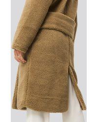 NA-KD Big Collar Teddy Coat - Bruin