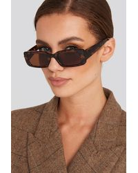 NA-KD - Wide Retro Look Sunglasses Brown - Lyst