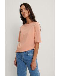NA-KD T-shirt Met Hoge, Ronde Halslijn - Oranje