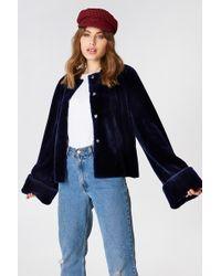 NA-KD - Wide Cuff Faux Fur Jacket Midnight Blue - Lyst