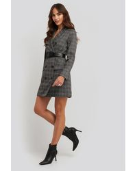 NA-KD Plaid Double Breasted Blazer Dress - Gris
