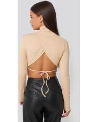 NA-KD - Beige Open Back Highneck Bodysuit - Lyst