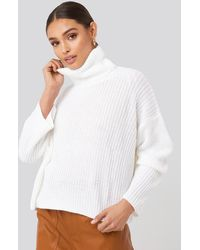 NA-KD Oversized High Neck Knitted Sweater - Weiß