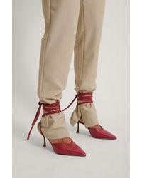 NA-KD Shoes Schuine Stilettopumps Met Veters - Rood