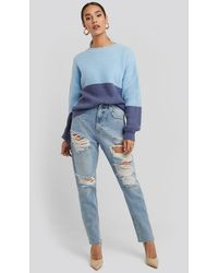 NA-KD High Waist Ripped Mom Jeans - Blauw