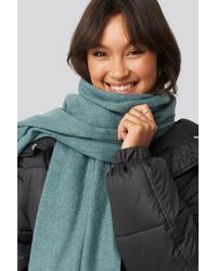 NA-KD Light Wool Blend Scarf - Groen