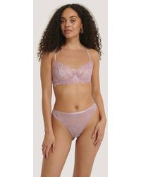 NA-KD Lingerie Scalloped Lace Wide Cup Bra - Lila
