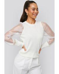 Trendyol Organza Sleeve Detailed Sweater - Wit