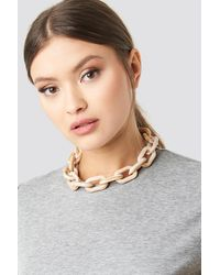 NA-KD Accessories Nude Resin Chain Necklace - Natur